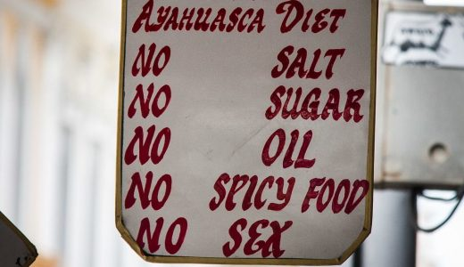 Image of a sign that says Ayahuasca diet: no salt, no sugar, no oil, no spicy food, no sex